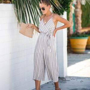 [Vici] NWT Shallow End Striped Tie Jumpsuit